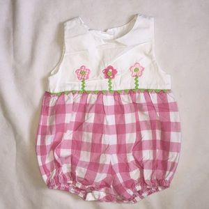Funtasia!  too pink and white romper. 2T